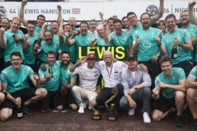 Mercedes team celebration at Monaco