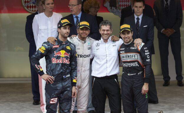 2016 Monaco podium: 1. Hamilton 2. Ricciardo 3. Perez