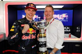 Max Verstappen celebrates his first F1 win with father Jos Verstappen during the Spanish Formula One Grand Prix at Circuit de Catalunya on May 15, 2016 in Montmelo, Spain