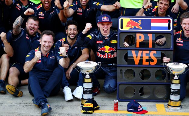 Max Verstappen celebrates his first F1 win with Daniel Ricciardo of Australia and Red Bull Racing Team