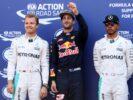 Top three qualifiers, Daniel Ricciardo, Nico Rosberg and Lewis Hamilton