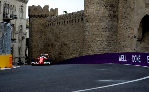 Sebatian Vettel driving his Ferrari SF16-H in Baku