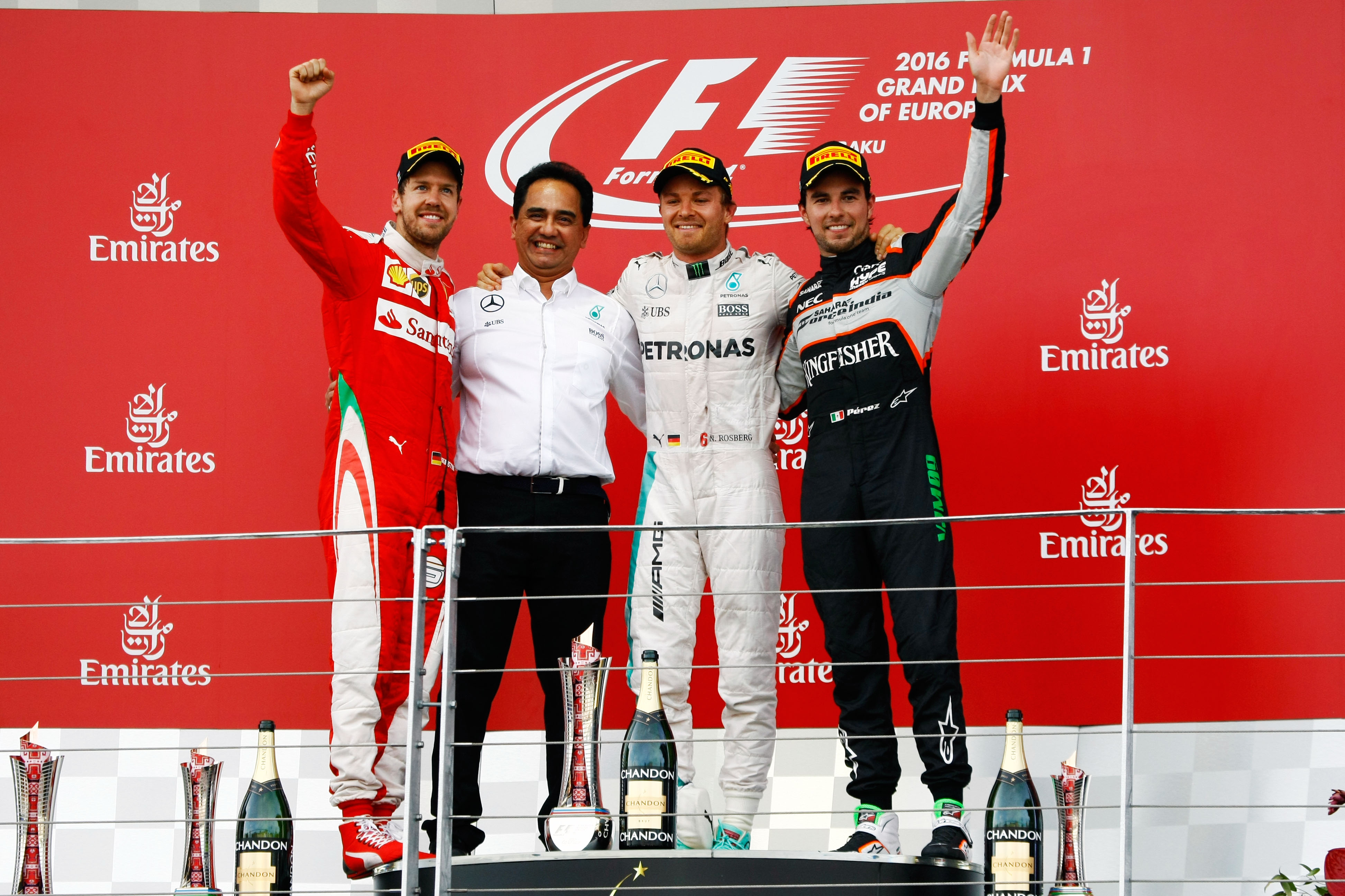 2016 European F1 GP podium 1. Rosberg 2. Vettel 3. Perez