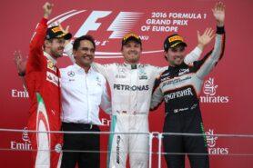 2016 European F1 GP podium: 1. Rosberg 2. Vettel 3. Perez