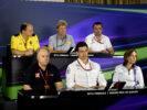 F1 team bosses during press conferance (L-R) - Frédéric Vasseur (Renault) - Eric Boullier (McLaren) - Gene Haas (Haas) - Toto Wolff (Mercedes) - Claire Williams (Williams)