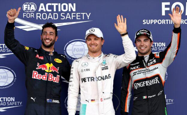 Top three qualifiers, 1. Rosberg 2. Perez 3. Ricciardo