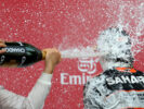 Sergio Perez getting a Champagne shower