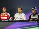 Winners at press conferance (L-R) Vettel - Rosberg - Perez