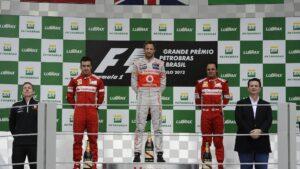 2012 Brazilian GP podium: 1. Button, 2. Alonso 3. Massa last win for Button and McLaren