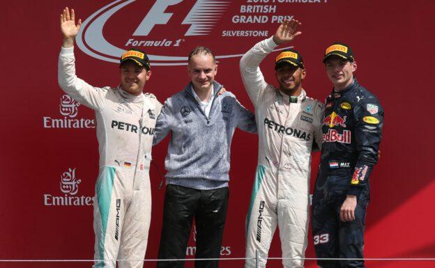 2016 British GP podium: 1. Hamilton 2. Verstappen 3. Rosberg