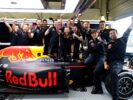 Max Verstappen of Netherlands and Red Bull Racing celebrates his second position finish with his team during the Formula One Grand Prix of Great Britain
