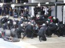 Fernando Alonso makes a pit stop.