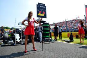 Grid girl for Nico Hulkenberg (GER) Sahara Force India F1 VJM09. Hungarian Grand Prix F1/2016