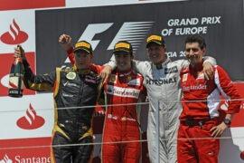 Kimi Raikkonen, Fernando Alonso and Michael Schumacher (his last podium)
