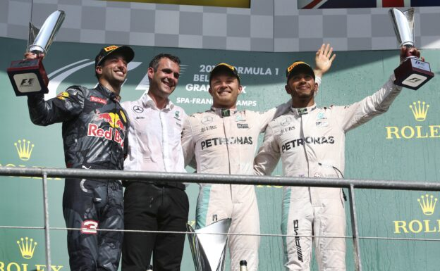 Formula One - MERCEDES AMG PETRONAS, Belgian GP 2016. Lewis Hamilton, Nico Rosberg;