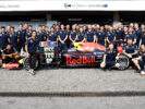 Daniel Ricciardo and Red Bull Racing and the Red Bull Racing team celebrate for Daniel's 100th F1 Grand Prix during previews to the Formula at Hockenheimring German GP F1/2016