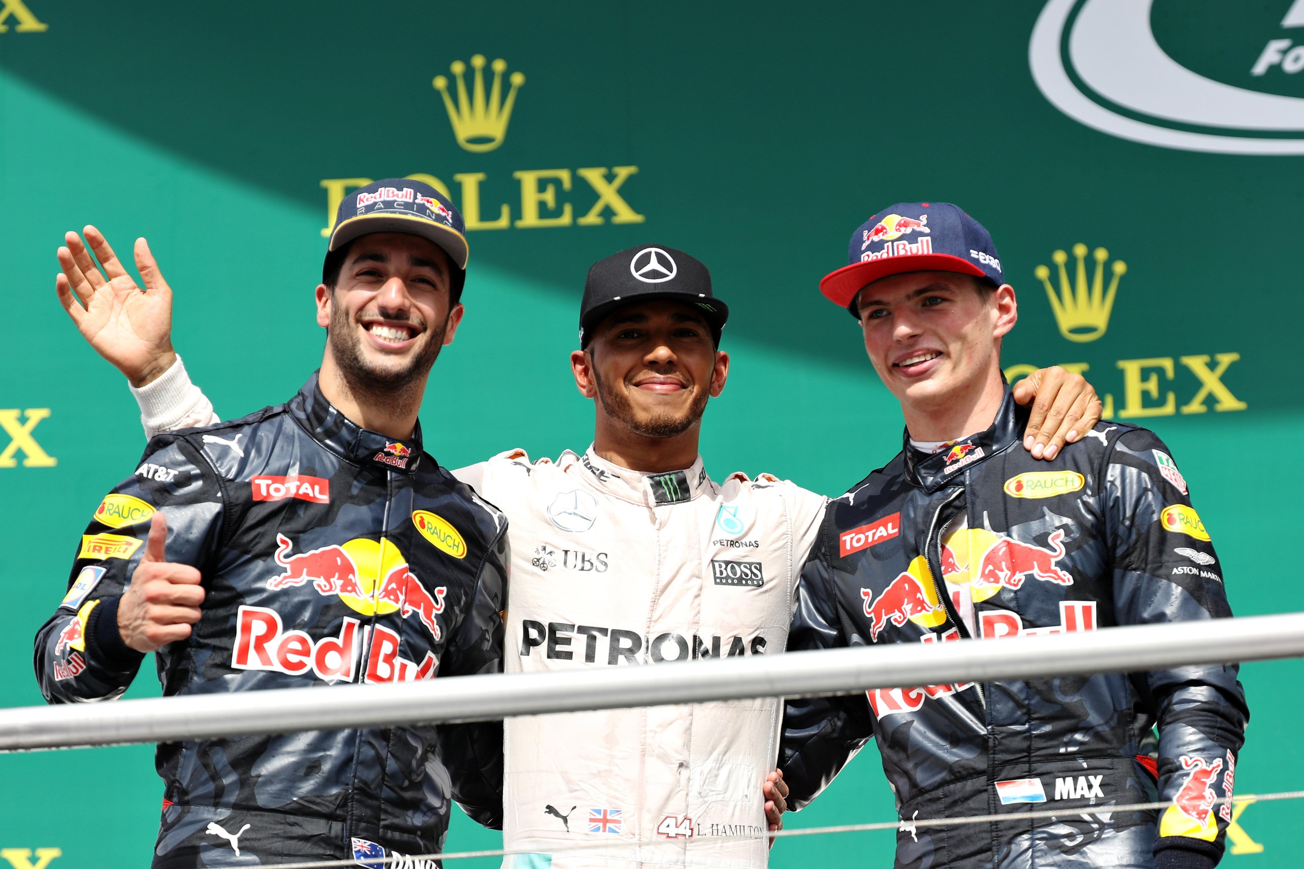 Winners German GP F1/2016 Lewis Hamilton, Daniel Ricciardo and Max Verstappen