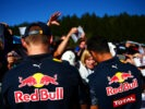 SPA, BELGIUM F1/2016: Daniel Ricciardo of Red Bull Racing and Max Verstappen Red Bull Racing sign autographs for fans during previews.