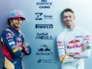 SPA, BELGIUM F1/2016: Carlos Sainz with Daniil Kyvat both of Scuderia Toro Rosso during previews.