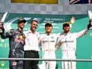 SPA, BELGIUM F1/2016: Top 3: Nico Rosberg, Daniel Ricciardo and Lewis Hamilton on the podium.