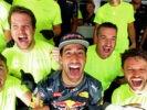 SPA, BELGIUM F1/2016: Daniel Ricciardo of Red Bull Racing celebrates finishing in second position with his team.