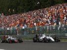 Spa-Francorchamps, Belgium. Valtteri Bottas, Williams, leads Romain Grosjean, Haas VF-16 Ferrari.