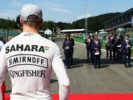 Nico Hulkenberg (GER) Sahara Force India F1 as the grid observes the national anthem. Belgian Grand Prix 2016.