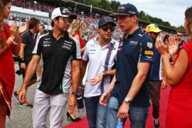 Sergio Perez - Sahara Force India F1; Felipe Massa - Williams; and Max Verstappen - Red Bull Racing; on the drivers parade. German GP F1/2016