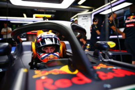 MONZA, ITALY F1/2016: Max Verstappen of Red Bull Racing sits in his car fitted with the halo.