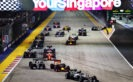 Nico Rosberg, Daniel Ricciardo, Lewis Hamilton and the rest of the field at the start during the Formula One Grand Prix of Singapore 2016