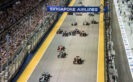 In this handout photo provided by Singapore GP, Nico Rosberg, Daniel Ricciardo, Lewis Hamilton and the rest of the field during the Formula One Grand Prix of Singapore 2016