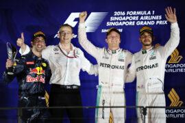 2016 Singapore Grand Prix podium: 1. Rosberg 2. Ricciardo 3. Hamilton