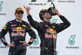 Redbull Racing Team Daniel Ricciardo and Max Vertsappen Malaysia GP F1/2016
