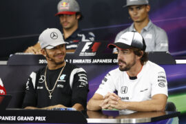Lewis Hamilton and Fernando Alonso at the 2016 Japanese Grand Prix press conferance