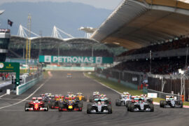 The start during the Malaysia Formula One Grand Prix at Sepang Circuit on October 2, 2016 in Kuala Lumpur, Malaysia.