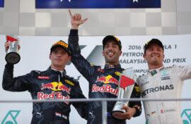 2016 Malaysian GP podium: 1. Ricciardo 2. Verstappen 3. Rosberg