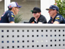 Max Verstappen talks with IndyCar driver Conor Daly of United States and Pierre Gasly of France and Red Bull Racing in the Paddock during previews ahead of the United States Formula One Grand Prix 2016.