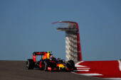 Max Verstappen driving the Red Bull Racing RB12 at Circuit of The Americas
