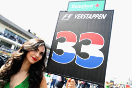 The grid girld of Max Verstappen on the grid before the Formula One Grand Prix of Mexico at Autodromo Hermanos Rodriguez on October 30, 2016