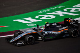 Sergio Perez (MEX) Sahara Force India F1 VJM09 waves to the crowd at the end of the race. Mexican Grand Prix 2016