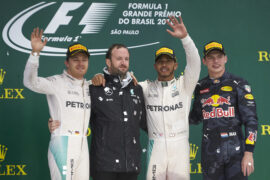 Podium 2016 Brazilian GP 1. Hamilton 2. Rosberg; 3. Verstappen