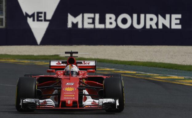 Sebastian Vettel racing the Ferrari SF70H on Albert Park, Melbourne, Australia
