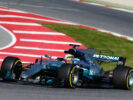 Lewis Hamilton, Mercedes W08 driving on Circuit de Catalunya, Spain.