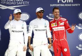 Top 3 qualifiers: 1. Hamilton. 2. Vettel, 3. Bottas, 2016 Australian GP