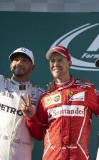 Winners on the podium Australian GP F1/2017 1.Sebastian Vettel 2.Lewis Hamilton, 3.Valtteri Bottas,