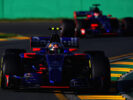 Carlos Sainz driving the (55) Scuderia Toro Rosso STR12 leads Daniil Kvyat driving the (26) Scuderia Toro Rosso STR12 on track during the Australian Formula One Grand Prix at Albert Park on March 26, 2017 in Melbourne.
