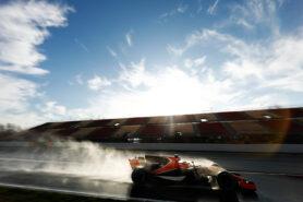 Stoffel Vandoorne testing the McLaren MCL32 in the wet on Circuit de Catalunya, near Barcelona, Spain.