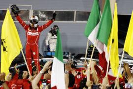 Sebastian Vettel wins the 2017 Bahrain GP