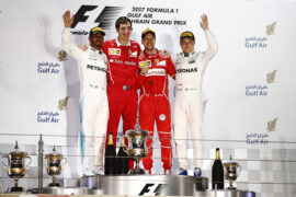 2017 Bahrain GP podium: 1. Vettel, 2. Hamilton, 3. Bottas