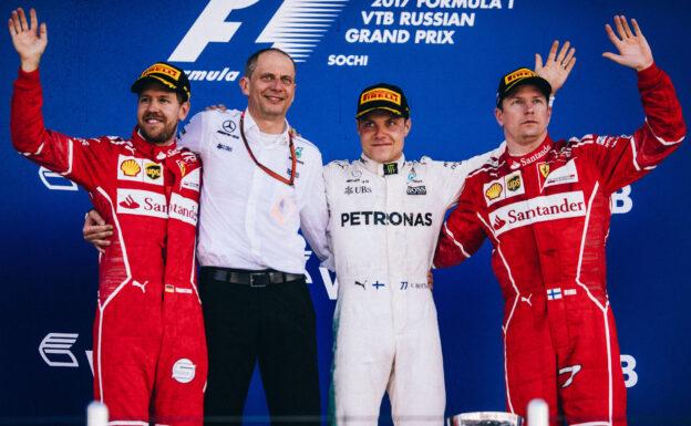 2017 Russian GP podium: 1. Bottas, 2. Vettel, 3. Raikkonen